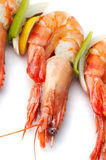 Large shrimps with vegeables Stock Photos