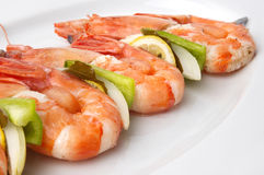 Large Shrimps With Vegeables Royalty Free Stock Photos