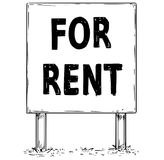 Large Sign Board Drawing of For Rent Text. Vector drawing of large sign board billboard with business text for rent Stock Image
