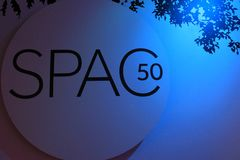 Large sign lit in blue, celebrating SPAC`s 50th year, Saratoga Springs, New York, 2017 Stock Photo