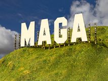 Large sign with phrase MAGA MAKE AMERICA GREAT AGAIN. A large sign on a hillside, similar to the famous sign in Hollywood that says MAKE AMERICA GREAT AGAIN Royalty Free Stock Photos