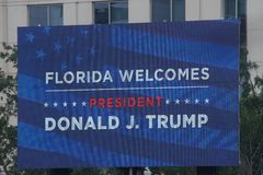Free Large Sign T During The President Donald Trump Rally In Orlando Florida June 18,2019 Stock Image - 150898801