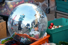 Large silver glitter ball for sale Stock Photo