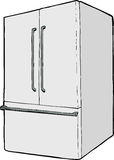 Large single closed refrigerator. One isolated refrigerator with french doors and freezer drawer Royalty Free Stock Photos
