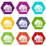 Large single-storey house icon set color hexahedron. Large single-storey house icon set many color hexahedron isolated on white vector illustration Stock Photos