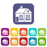 Large single-storey house icons set. Vector illustration in flat style in colors red, blue, green, and other Stock Photos