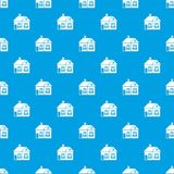 Large single-storey house pattern seamless blue. Large single-storey house pattern repeat seamless in blue color for any design. Vector geometric illustration Stock Photography