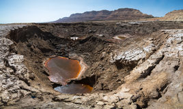 A large sinkhole at the Dead Sea coastline Royalty Free Stock Image