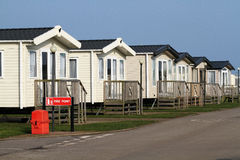 Large site caravans with fire safety box. Royalty Free Stock Images