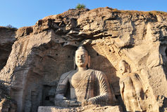 Large sitting Buddha in Yungang Grottoes Royalty Free Stock Photography