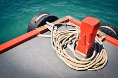 Large size of boat rope. Large size boat rope used to tide boats roll together Royalty Free Stock Photo