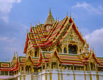 Large size temple with multi level roofs in Thailand. Royalty Free Stock Photography