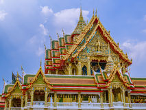 Large size temple with multi level roofs in Thailand. Stock Photos