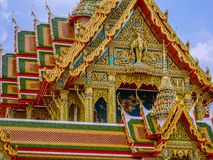 Large size temple with multi level roofs in Thailand. Royalty Free Stock Photo