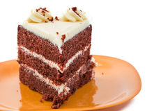 Large Slice of Red Velvet Cake Royalty Free Stock Image