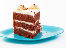 Large Slice of Red Velvet Cake Stock Image