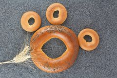 Large and small bagels Stock Image