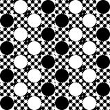 Large and small, black and white circles in squares. Large and small, black and white circles in the squares alternate in a checkerboard pattern Stock Photo