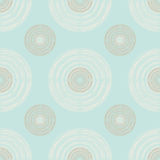 Large and Small Brown and Ivory Circles of Multiple Lines on Pas. Seamless pattern of large and small brown and ivory circles of multiple lines on pastel mint Stock Image