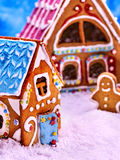 Large and small colored gingerbread house. Stock Image