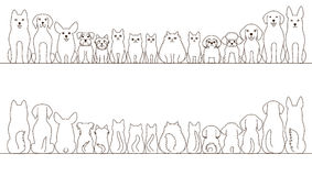 Large and small dogs and cats banner set Stock Photography