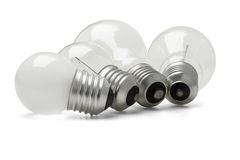 Large and small electric light bulbs Royalty Free Stock Images