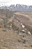 Large and small fault lines at Pingvellir Stock Images
