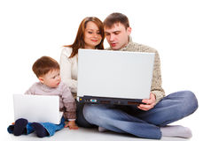 Large and small laptops. For parents and kid Stock Images