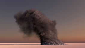 Large smoke in the desert Royalty Free Stock Photo