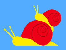 Large snail carrying small Royalty Free Stock Photo