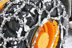 Large Snow Chain Wheel Closeup. Large Snow Chain Wheel Close up stock photos