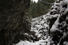 Large snow-covered canyon in the winter mountains royalty free stock photos