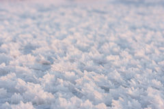 Large snow crystals closeup stock image