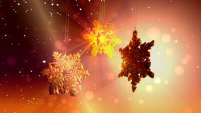 Large snow crystals and flakes floating, abstract Christmas background Royalty Free Stock Images