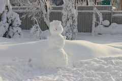 Large snowman with a carrot nose from. Snowy winter Royalty Free Stock Images