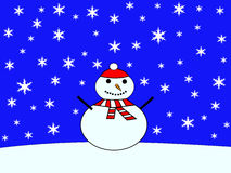 Large snowman with falling snow Royalty Free Stock Photos