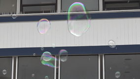 Large soap bubble fly in the air stock video footage