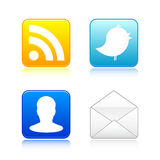 Large Social Icons. A group of four large social network icons / buttons. Available in vector EPS