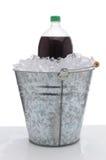 Large Soda Bottle in Ice Bucket royalty free stock photo