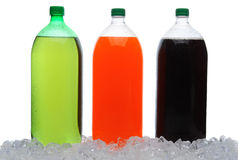 Large Soda Bottles in Ice Royalty Free Stock Photography