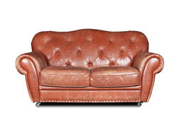 Large  sofa. Large and comfortable brown leather sofa in classic style Royalty Free Stock Image