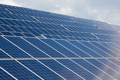 Large Solar energy array for clean electricity production Royalty Free Stock Photos