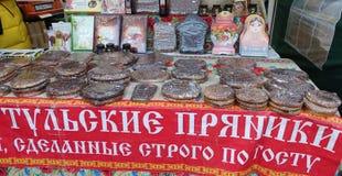 Large souvenir Tula gingerbread lying on the counter stock photos