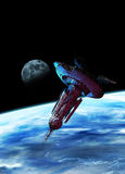 Large spaceship or docking station in earth orbit Stock Photos