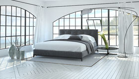 Large spacious bright bedroom interior Stock Image