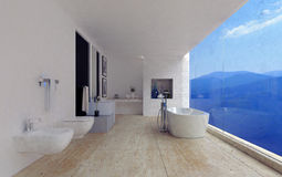 Large spacious modern bathroom interior. With a stunning view of mountain ranges through a panoramic floor-to-ceiling window in a luxury home, 3d render Royalty Free Stock Image