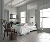Large spacious modern white bedroom royalty free stock photo