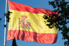 Large Spanish Flag Flying in Madrid Stock Photography
