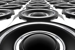 Large Speakers. Large Bass Speakers Wall. Show-Stage Theme. 3D Rendered Speakers. View From the Bottom. Music Illustrations Collection Stock Photo