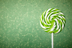 Large spiral lollipop on stick Stock Photos